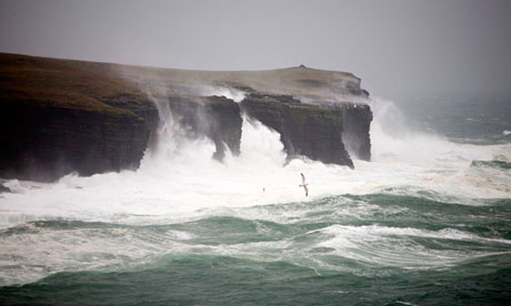 waves batter orkney