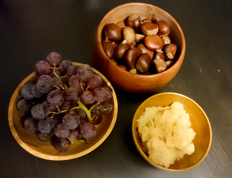 Grapes, chestnuts and apple compot